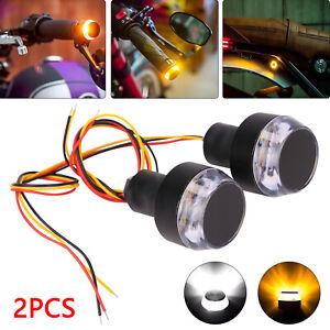 2pcs Motorcycle Turn Signal LED Light Indicator Handle Bar End Handlebar Lamp UK