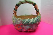 "Large 3D Resin Decorative Basket Vegetable Theme Cabbage Carrots 4"" Deep"