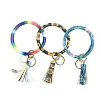 Tassel Pendant Faux Leather Bracelet Ring Keychain Anti-lost Car Key Ring N7