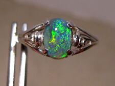 Beautiful 100% Natural Australian Opal Ring Size 7 1/4 or O  Silver