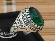 ahlulbayt Shia Men sterling 925 silver Ring Natural green Agate Aqeeq akik