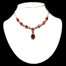 """NATURAL PINK RUBY CHROME DIOPSIDE & CZ NECKLACE 19"""" 925 SILVER STERLING"""