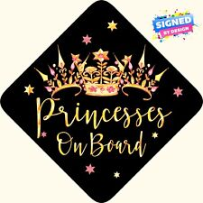 Princesses on Board, Child Baby On Board Car sign Black non personalised~3 Crown