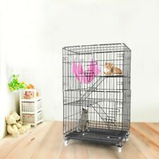 3-Tier Indoor 40'' Ferret Rabbit Cage Large Space Ferret Pet Cat w/2 Front Door