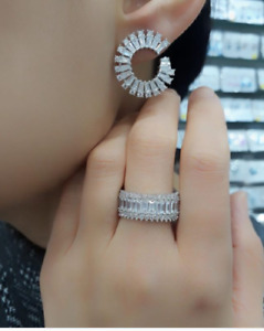 AAA QUALITY STERLING 925 SILVER LADY JEWELRY TOP RICH WHITE ZIRCON RING EARRINGS