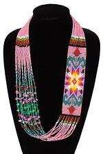 NE149-164 Pink Star Story Classic Glass Navajo Design Necklace Handmade Artisan