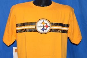 NWT NEW PITTSBURGH STEELERS FOOTBALL NFL YELLOW MITCHELL & NESS t-shirt L