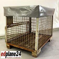 1 x Abdeckhaube für Gitterbox aus LKW-Planenmaterial grau Höhe=100 mm LKW-Plane