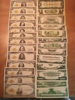 Reproduction  Paper Money 1928 13 PC Gold Seal Set US Currency Copy Note