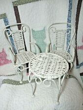 "Vintage Metal and Wicker Doll Table 7"" High x 6.5"" Wide, Two Chairs 12"" High"