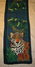 Edler Seidenschal mit Leoparden - Motiv ca. 46 x 178 cm TOP