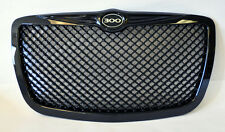 Chrysler 300 300C 2005-2010 Gloss Black Honeycomb  Front Grill w/ 300 Logo