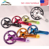 30-52T CrankKset Crank BCD104 Narrow Wide Single Speed MTB Road Bike Chainring