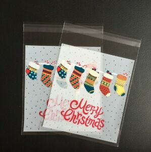 Christmas Cookie Bags Plastic Seal Stocking Sweet Gift Bag Biscuit Cellophane