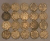 Half Roll Liberty V Nickels1897-1912D---20 Coins in All--Nice Selection of Dates