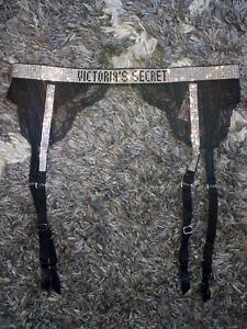 New Victoria secret rhinestone studded garter belt Size xs/s black shine logo