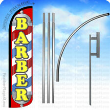 BARBER - Windless Swooper Flag 15' KIT Feather Shop Banner Sign - JL5 z