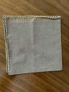 G. Inglese Brown Check Cotton Poplin Pocket Square