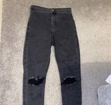 Topshop Grey Joni Ripped Skinny Stretch Jeans W28 L32Distressed
