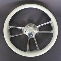"55 56 Chevy Bel Air White and Billet Steering Wheel 14"" Chevy Bowtie Center Cap"