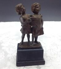 G. Jaeger Bronze Marble Base Sculpture Figure Children Singing Musicians