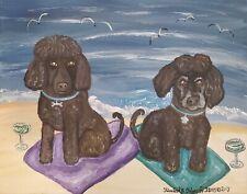 Irish Water Spaniel on the Beach Art Print 11x14 Dog Collectible by Artist Ksams
