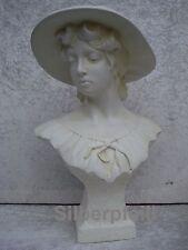Büste Larissa Frauenbüste Hut Kopf Figur Frau Stuckgips Säule Statue Crem 2023