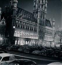 BRUXELLES c. 1950 - Hôtel de Ville Eclairé Belgique - DIV1563