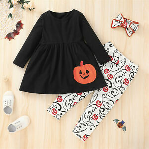 Toddler Baby Girls Outfits Clothes Halloween Cartoon Tops+Pants+Headband Sets