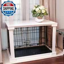 Metal Dog Crate Kennel Indoor Cage Heavy Duty W/ White Cover 2-Door Small Puppy