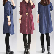 Plus Size ZANZEA Women Striped Long Sleeve Button Down Top Shirt Mini Dress Maxi