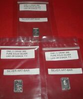 "3 x (1) gram .999 Fine Solid Silver Art-Bars, 3 Different Bars: - "" I LOVE YOU """