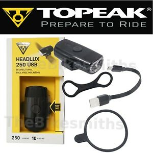 Topeak TMS088B Headlux 250 USB Rechargeable Bike Headlight fits Handlebar Helmet