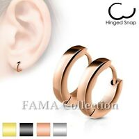 FAMA Stainless Steel Small Plain Dome Hoop Huggie Earrings Select Colour