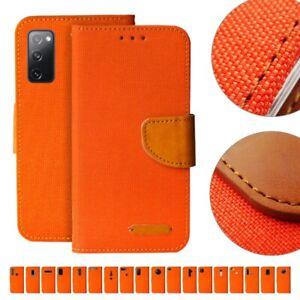 Handy Tasche Orange Flip Cover Case Schutz Hülle Etui Jeans Canvas Stoff Wallet