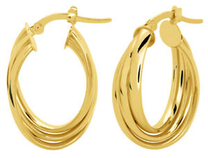 14KT Yellow Gold Oval Shaped Triple Twisted Hoop Earrings