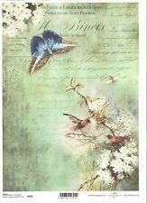 Papel De Arroz Para Decoupage Pájaros Mariposa Letra De Scrapbooking Flores A4 ITD R976