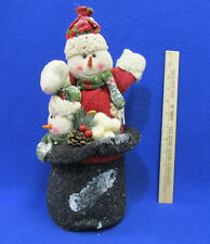 """Christmas Plush Snowman In Black Top Hat Figure Holiday Decor 13"""" Tall"""