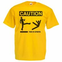 Mens Yellow Caution This Is Sparta T-Shirt Funny 300 Movie Spoof T-Shirt