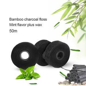5 Rolls Dental Bamboo Charcoal Flosser Spool Oral Hygiene Teeth Clean Mint Scent