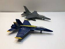 Road Champs Die-Cast Flyers Lot of 2 Planes -  (F-16 Fighter, F-18 Blue Angels)