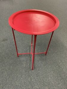 Folding Side Table -Plastic Tray with Metal Legs - Small Space **NO PO BOX**