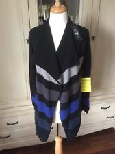 LUISA CERANO BLUE/BLACK COLOUR BLOCK WATERFALL JACKET SIZE 10 BNWT