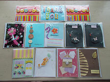Mixed Lot 12 Blank Thank You Cards 3D Embellishments NIP #1