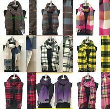Men Women Winter Warm SCOTLAND Made 100% CASHMERE Scarf Solid Plaid Wool Wrap