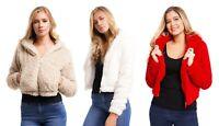 Womens Zip Up Crop Top Borg Hoodie Ladies Long Sleeve Faux Fur Jacket Coat