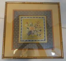 VINTAGE JAPANESE DESIGN FRAMED FABRIC ART WITH GOLD BAMBOO DESIGN FRAME