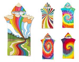 Tie-Dye Geometric Spiral Adult Teen's Hooded Bath Swim Surf Beach Poncho Towel