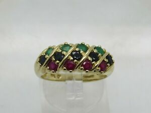 14k Yellow Gold Round NATURAL Emerald Sapphire Ruby Cluster Dome Band Ring 7.75