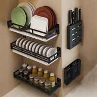 Dish Rack DIY Kitchen Storage Shelf Utensils Holder Wall Mount Shelves Spice